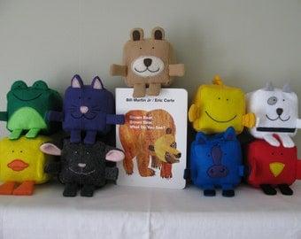Eric Carle - inspired Brown Bear, Brown Bear collection - Felt Cubes/Blocks Plushie Toy Sewing Pattern