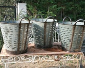 4 quantities of Rustic Olive and grape bucket basket..Excellent condition..