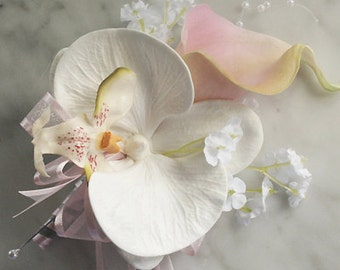 Silk  Wedding Corsage  - Calla Lily and Orchid Wedding Flower Corsage in YOUR COLORS