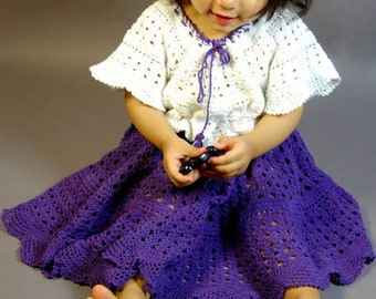 Hand Crochet cotton yarn baby girl toddler one-piece dress (sizes  6-12mo 1T 2T 3T 4T )