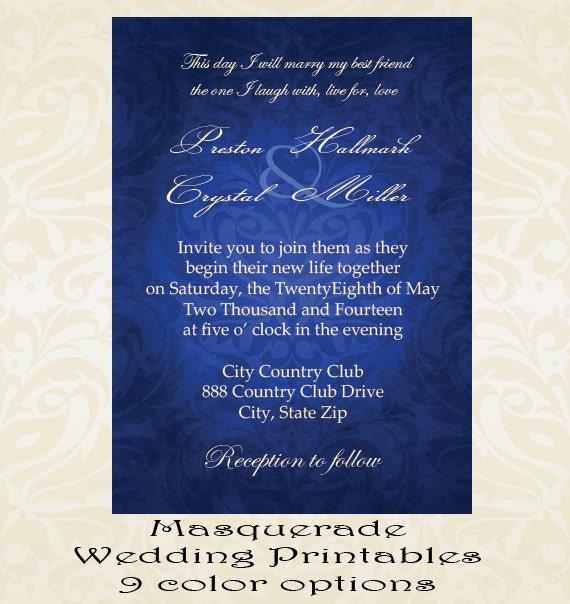 Masquerade Wedding Invitations: Lace Gem Masquerade Wedding Invitation Digital Printable Or