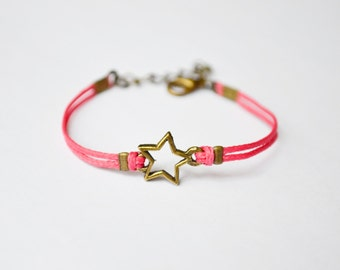 Charm bracelet for girls pink cord kids jewelry gift for girls