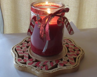 Candy Cane Candle Trivet