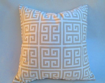 """Greek key towers Decorative throw pillow cover in taupe and white lumbar pillow, accent pillow, toss pillow 14x14 16x16 18x18 20X20 22x22"""""""