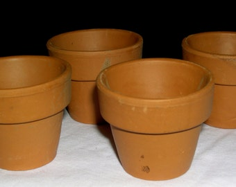 Miniature Red Clay Flower Pots, Lot of 4 Pots