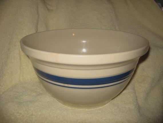 Friendship Pottery Roseville Ohio Blue Stripe Bowl 4 By