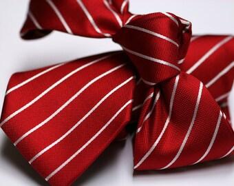 Silk Necktie: Thin White Stripes on Red