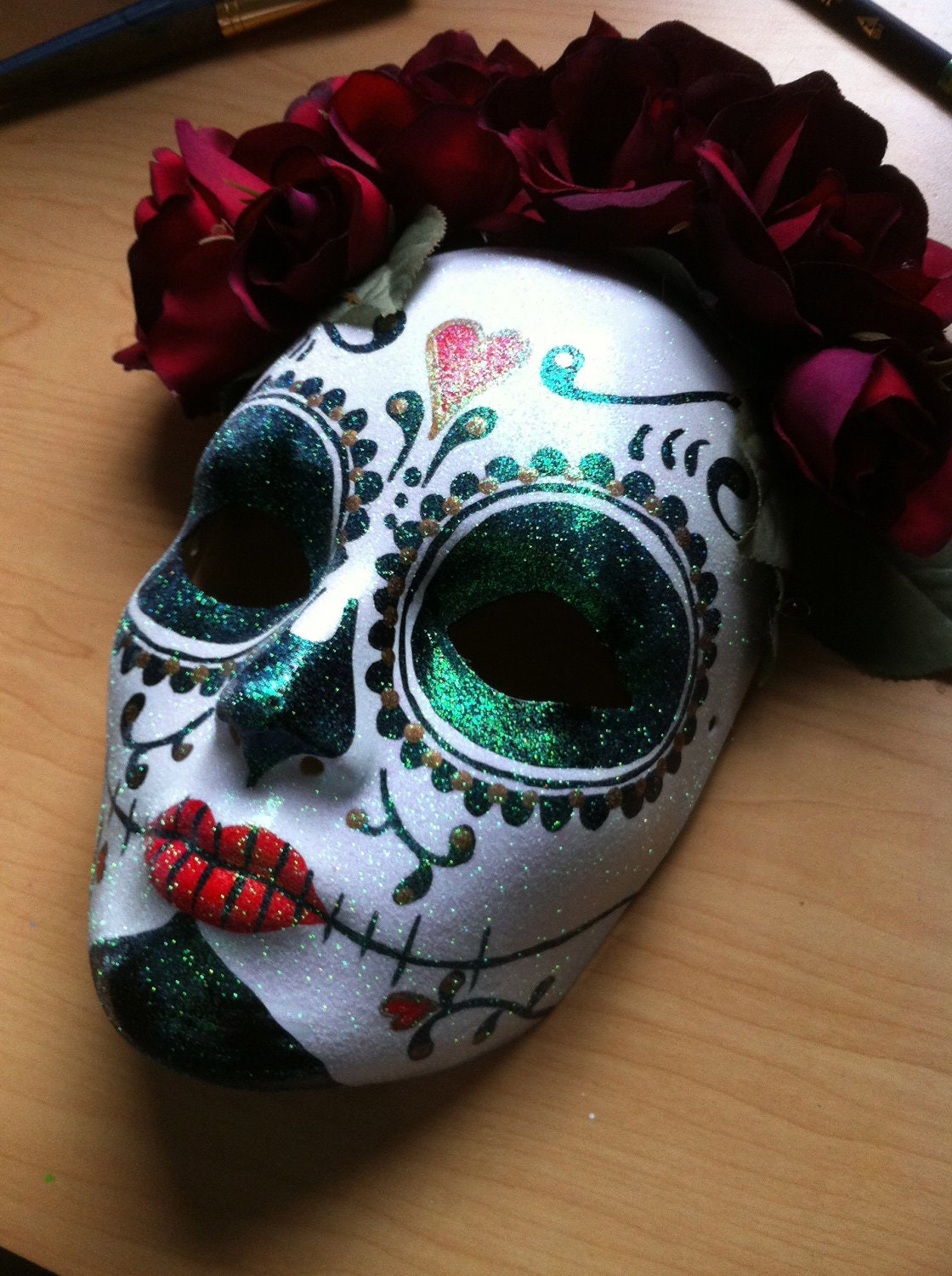 Day Of The Dead Hand Tattoo: Day Of The Dead Skull And Roses Hand Painted Mask