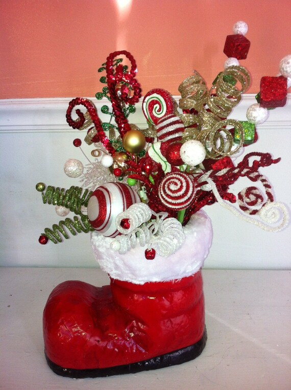 Items similar to christmas boot centerpiece on etsy