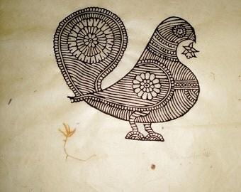 Making the Nest, Woodblock Print, 40cm H x 29cm W