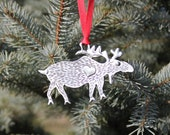 Hand Made Lead Free Pewter Moose Ornament  Made in Michigan holiday gift Free Shipping