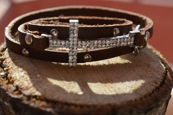 Sideways Cross Bracelet Leather Leather Wrap Cross Bracelet