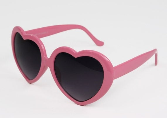 Vintage 60's Light Pink Heart Shaped Sunglasses