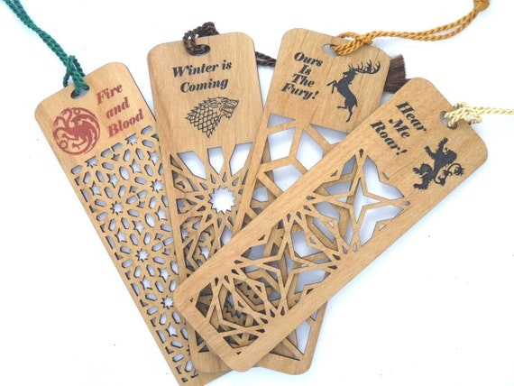 Inspired by Game of Thrones Engraved Bookmark Set of all Four FREE SHIPPING