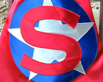 Boy or girl superhero cape: SUPER HERO cape personalized cape with initial and star in 17 vibrant satin colors