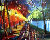 SOLD to Becca - Original Modern Abstract Palette Knife Painting on Canvas, Couple Under Umbrella Raining Street Lamps 18x24""