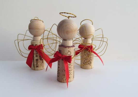 RePurposed Wine Cork and Wire Christmas Angel Ornament