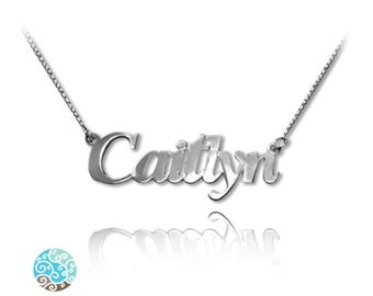 Personalized Name Necklace Small Angel Style Sterling Silver 925 Name Necklace