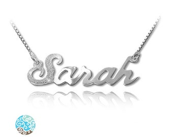 Personalized Name Necklace First Letter Sparkling Sterling Silver Name Necklace