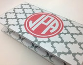 Monogrammed Checkbook Cover - ANY COLORS - Personalized Custom Monogram Gift - Moroccan tile - Initials,  Christmas Gift, Stocking Stuffer
