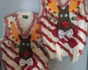 Matched set Couples Custom 3-D Hysterical Reindeer Tacky Ugly Christmas Sweater  Wild Garland Light UP Mens Womens Vest