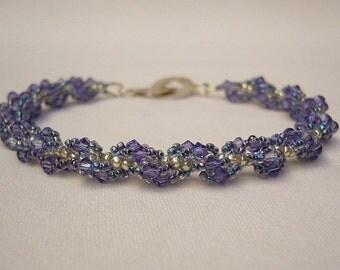 Bracelet with Swarovski Crystals - Lavender and Silver