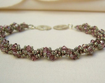 Bracelet with Swarovski Crystals - Rose and Silver-Grey