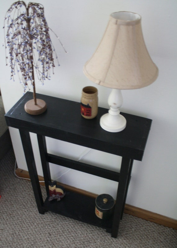 Beautiful primitive small black tall skinny by for Extra tall sofa table