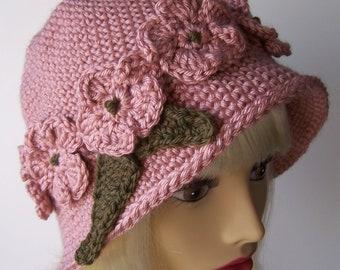 Victorian Pink Crocheted Cloche