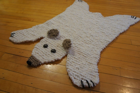 Flat polar bear rug/ mat/ blanket