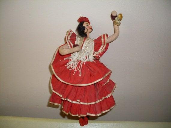 Vintage Klumpe Rodan Spanish Dancer Cloth Felt By