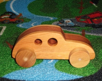 Handmade wooden 2-tone toy car