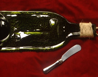 Slumped wine bottle - Recycled wine bottle - cheese platter - flat bottle