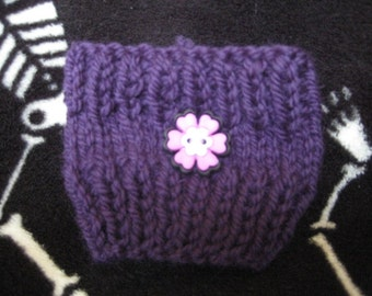Purple with Pink Flower coffee cozy