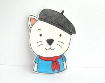 Boho Cat Brooch. Cat pin