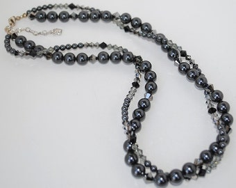 Stunning Double Strand Swarovski Black Crystal Pearl and Bead Necklace
