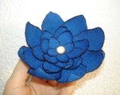Blue Fabric Brooch, Fabric Flower  Brooch,  Unique Fabric Jewelry