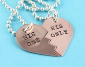 SALE - His One & His Only Handstamped Broken Hearts Necklaces - LGBT - Gay Couples Necklaces - Valentine's Day