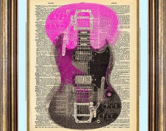 Guitar Gibson SG Unique gift Dictionary page art print book page art print up cycled