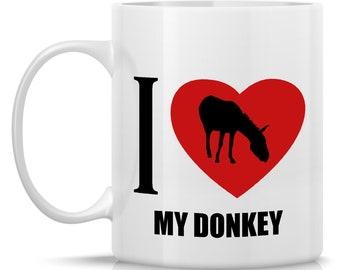 Homestead Donkey Coffee Mug - I Heart My Donkey: 11-oz. Porcelain Mug - Farm Animal Theme with Donkey
