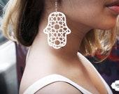 Fatimas Hand Hamsa Geometric Earrings