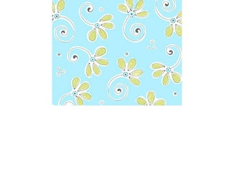 Fabric - Suzybee - Whimsical Floral - Turquoise with Green Flowers
