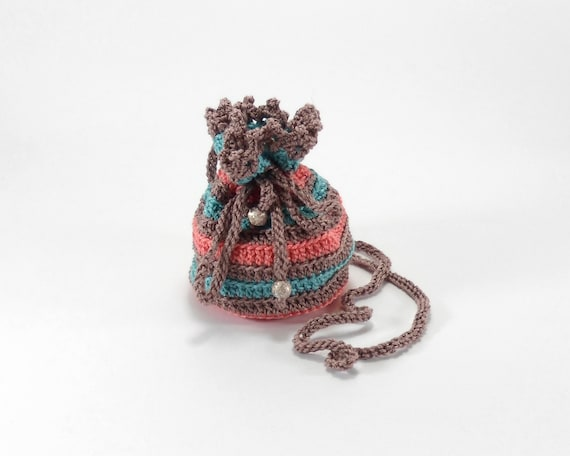 ... Small Crochet Pouch, Jewelry Bag with Drawstring, Christmas Gift Bag