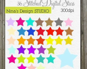 INSTANT DOWLOAD   36 Stitched Digital Stars for Personal and Commercial Use