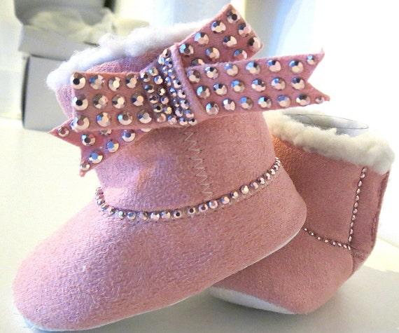 On Sale Baby Girl Newborn Infant Pink Rhinestone Crystal Bow