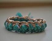 Woven Chain Link Bracelet - Blue/Light Green