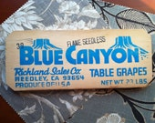 Vintage Wooden Grape Crate End - Blue Canyon