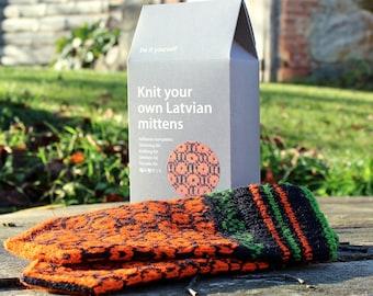 Latvian Mitten knitting DIY kit Black and Orange