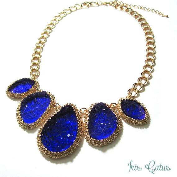 Cobalt Blue Celestial Geode Raw Stone Druzy Statement Necklace