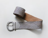 Vintage wide leather belt, silver gray braided belt made of genuine leather - plot